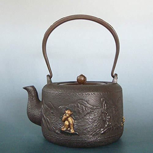 ZGQA-GQA Tetera de hierro fundido de hierro hecho a mano olla de hierro pezuña barco ligero 1,3 litros molde de cera olla de hierro imitación japonés olla