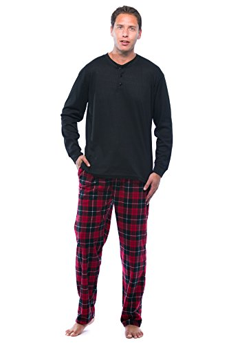 44909-16-NEW-L #FollowMe Pajama Set for Men with Thermal Henley Top and Polar Fleece Pants / Sleepwear / PJs, Black With Red Pants