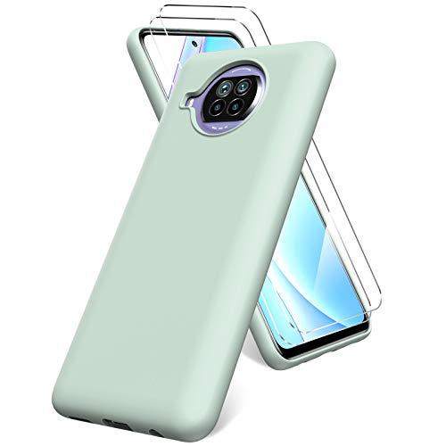 Oududianzi Funda Compatible con Xiaomi Mi 10T Lite 5G, 2 Unidades Protector Pantalla Cristal Templado, Silicona Líquida Gel Ultra Suave Funda- Menta
