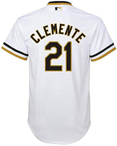 Roberto Clemente Pittsburgh Pirates White Youth Cool Base Home Cooperstown Jersey (Small 8)