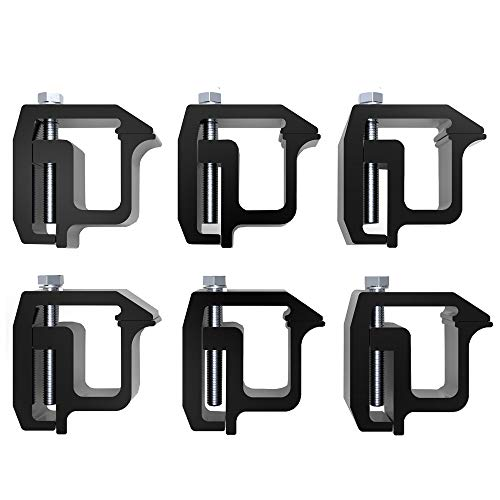 Y-autopart Mounting Clamps Truck Caps Camper Shell Powder-Coated Replacement for Chevy Silverado Sierra 1500 2500 3500,Dodge Dakota Ram 1500 2500 3500,F150 F250,Toyota Tundra Set of 6 (Black)