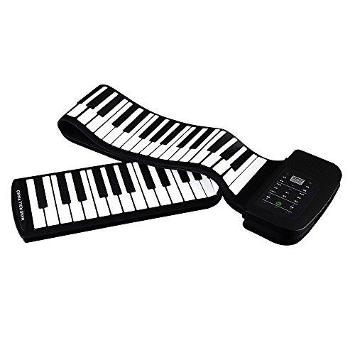 JJCFM Mano De Teclado, Portátil 88 Teclas del Teclado De Piano De Silicona Flexible Rueda para Arriba del Piano del Teclado Plegable Mano-Balanceo De Piano con La Batería Pedal De Sostenido