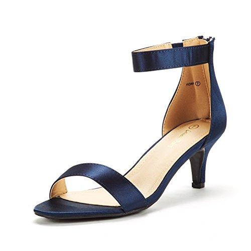 DREAM PAIRS Women's Fiona Navy Satin Fashion Stilettos Open Toe Pump Heeled Sandals Size 7.5 B(M) US