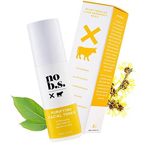 No B.S. Salicylic Acid Facial Toner with Witch Hazel, Lavender, and Tea Tree Oil. Pore Minimizer BHA Toner. Acne Treatment for Clear Skin.