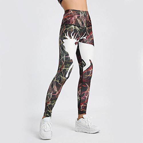 YELLAYBY elástico Pantalones de Yoga de la Mujer Entrenamiento Fitness Sport Polainas impresión de la Raya elástico Gimnasio Medias S-XL Correr Polainas Pantalones Tamaño Plus f3 Elevación Delgada de