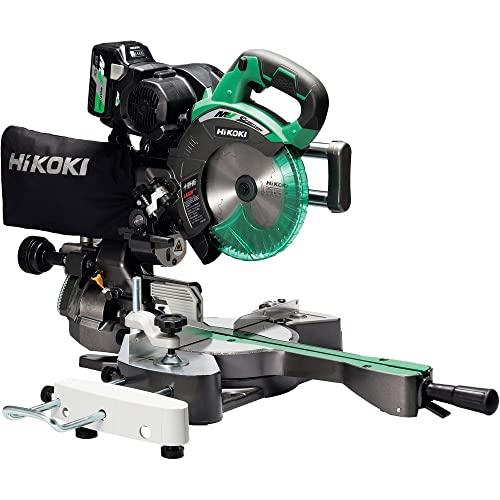 HiKOKI(ハイコーキ) 旧日立工機 コードレス卓上スライド丸のこ 36V マルチボルト刃径190mm 両傾斜 切断幅1尺(312mm) 内装材・フロア材切断 レーザーマーカー・LEDライト内蔵 蓄電池・充電器・チップソー付き C3607DRA(XP)