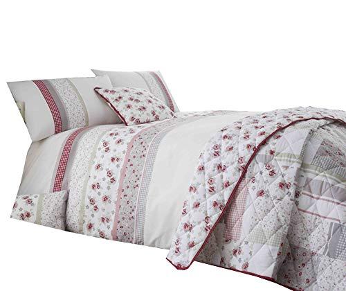 Summer Collection Jardin Floral 200 fils Superbe Printedeasy Care Housse de couette de lit en rose/gris avec gratuit Taie d'oreiller, 35 % polyester/65 % coton/coton/polyester, Double