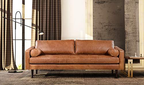 "POLY & BARK Napa 88.5"" Sofa in Full-Grain Pure-Aniline Italian Tanned Leather in Cognac Tan"