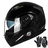 FreedConn Motorcycle Bluetooth Helmets,Bluetooth Integrated Modular Flip up Full Face Motorcycle Helmet,Dual Visor Modular Bluetooth Helmet,Mp3 FM Intercom DOT Approved Helmet (Gloss Black, X Large)