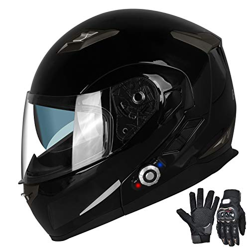 FreedConn Motorcycle Bluetooth Helmets,Bluetooth Integrated Modular Flip up Full Face Motorcycle Helmet,Dual Visor Modular Bluetooth Helmet,Mp3 FM Intercom DOT Approved Helmet(M,Gloss Black)