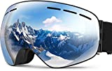 Ski Goggles Over Glasses Frameless Double-layer Detachable Spherical Snow Mirror ,UV400 Anti-fog Skiing/Snowboard Goggles for Men & Women Professional Snowmobile Skate Goggles Suitable