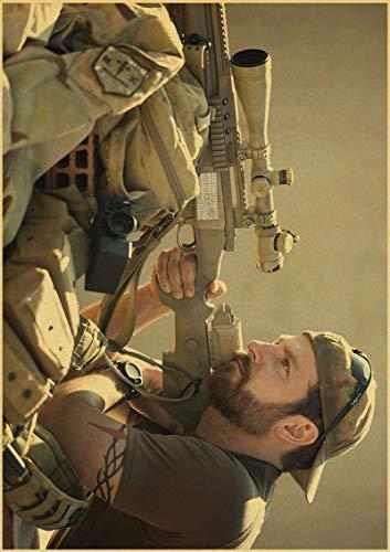 H/F American Sniper Bradley Cooper Movie Retro Canvas Poster DIY Nordic Style Home Living Room HD Art Deco Pintura Al Óleo Mural Sin Marco50X60Cm 4938L