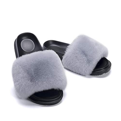 N/A Chanclas para Mujer, Pantuflas de Piel de Primavera y otoño, Zapatillas de Piel de Moda y versátiles para Uso Exterior, Gris Claro_41