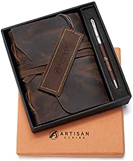 Leather Journal in Gift Box with Pen and Page Marker Artisan Notebook with Premium Lined Paper for Men & Women 7 X 5 Inches Perfect for Journaling Poetry Notebook Diary Makes a Great Gift.