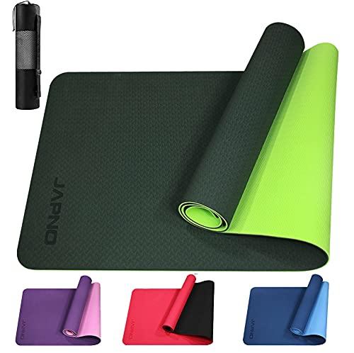 Yogamatte mit TPE rutschfest Fitnessmatte technologie verwenden für Gymnastikmatte , Yoga Matte mit Tragegurt und hohe Dichte Tasche (Parrot / Black, 183 x 61 x 0.6 cm)