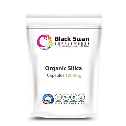 Black Swan Organic Silica Supplement—Healthy Hair and Skin—Anti-Inflammatory—Hormonal Balance—Immune System—Collagen Formation—1000mg Capsule (60 caps)
