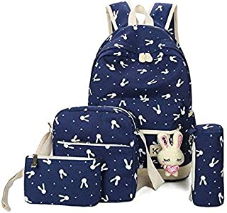 navy blue print backpack set for girls