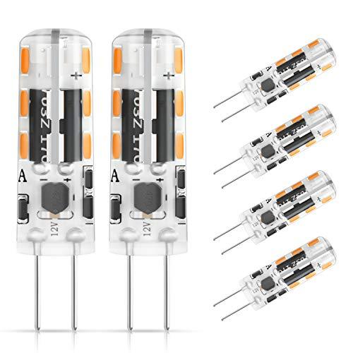 DiCUNO Bombilla LED G4, 6 × 1.2W 24 * 3014 equivalente a la lámpara halógena de 10W, No regulable, AC/DC 12V, Blanco frío 6000K, 120LM, Ángulo de haz de 360° …