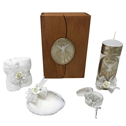 Catholic Baptism Kit in a Wooden Box with Towel, Candle, Rosary and Shell for Baby Boys and Girls. Handmade in Mexico Gift for Godparents. Holy Spirit Baptism Candle Set. Kit de Bautizo.