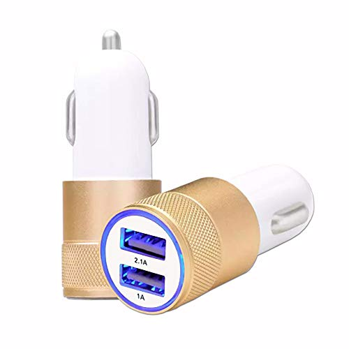 Desconocido Cargador de mechero USB Dorado para Coche de Doble Puerto Ultra rápido USB X2 Car Charger 12/24 V ** Conforme a Las Normas CE ** Compatible con Blackview BV 9600 Pro 2019