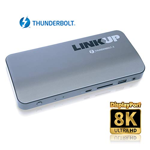 [Certified] LINKUP – Aluminum Thunderbolt 3 Dock DP 1.4 85W Laptop Charging Power Delivery SD UHS II Card Slot 8K Dual 4K LAN DisplayPort | for Windows PC & Mac (Compatible with TB3, not USB-C Ports)