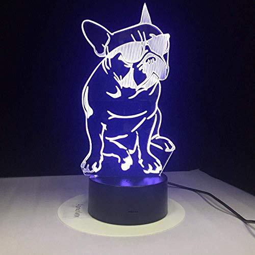 Weihnachtsmode Cool Dog 3D Lampe 7 Farbe LED Nachtlampen für Kinder Touch Led USB Tisch Baby Schlaf Nachtlicht Kinder Geschenk Fernbedienung