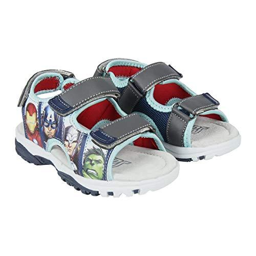Sandales pour Enfants Avengers | Ouverture Facile à 3 Scratchs | Semelle intérieure Cuir | Semelle extérieure crantée antidérapante | avec Les Motifs des Super Héros  (Numeric_26)