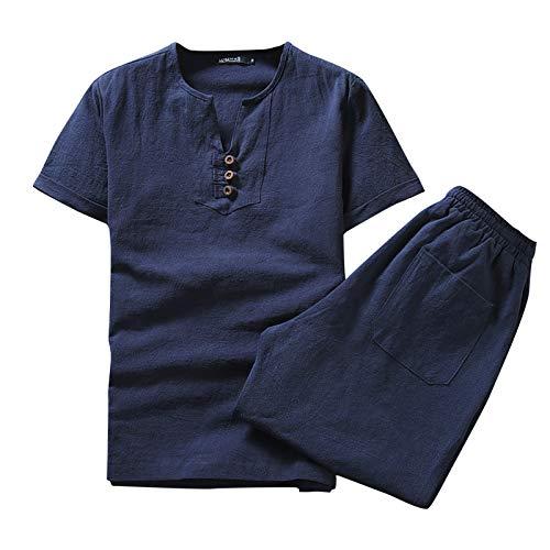 nopinpai Zweiteiliger Herren Leinenhemd-Shorts-Set Basic Shirt Loose Fit Männer Freizeit Hausanzug Sommer T-Shirt Bequem Kurzarm Tshirt Leinen Hemd Freizeithemd Sommerhemd mit Kurz Hosen