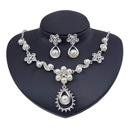 Yddxy Collar de Mujer Pendiente de Perlas Mosaico Colgante de Diamantes Conjunto de Joyas de Diamantes de imitación de aleación de Moda (Pendiente + Collar),Plata