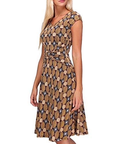 Revdelle - Robe Cache Coeur Col V Made in France Manches Courtes pour Femme Imprimer Losange Agathe