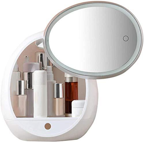 KCGNBQING Organizador de maquillaje con espejo LED Organizador de cosméticos de gran capacidad de almacenamiento USB USB Recargable Joyería moderna Perfume Cosmética Caja de visualización Caja de alma