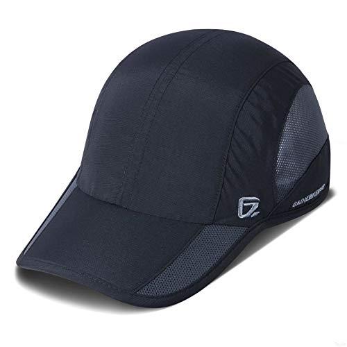 GADIEMKENSD Quick Dry Sports Hat Lightweight Breathable Soft Outdoor Run Cap (Improved, Black)