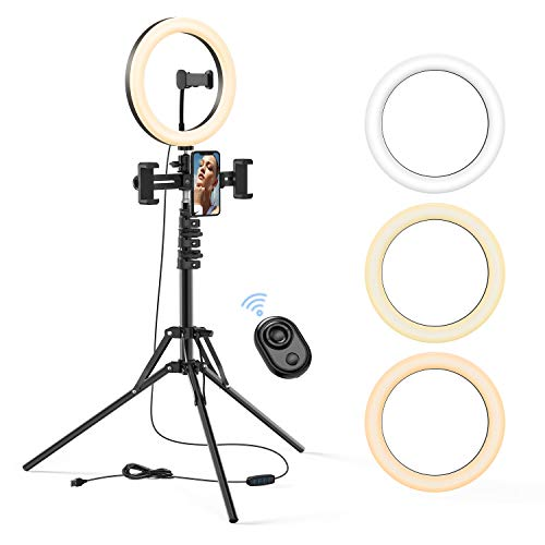 "10.2"" Aluminum Remote Controlled LED Selfie Ring Light 3m Wire,Saimly Portable Tripod Camera Ring Light and 4 Phone Stands, 3000k-6500k Dimmer for Photography/Makeup/Manicure/Video Recording/YouTube"