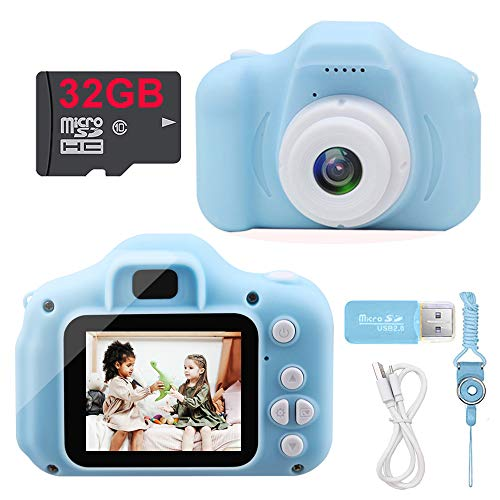 RAYIOU Kids Camera, Toddler Camera with 2.0 Inch IPS Screen and 32GB SD Card, HD Digital Video Toy Cameras for Toddler, Best Birthday Gift for Age 3-10 Boys and Girl (Blue)…
