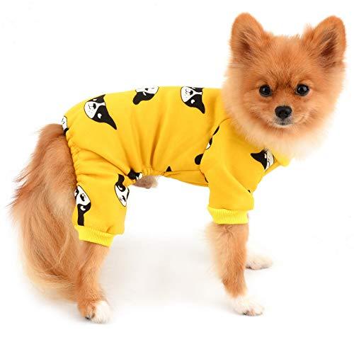 PAIDEFUL Haustier-Pyjama für kleine Hunde, Jungen und Mädchen, weiches Fleece, Welpen-Schlafanzug mit niedlichem Muster, Katzen-4 Beine, Jumpsuit, PJS für den Innenbereich, Gelb, Größe XXL