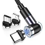 TOPK Cable USB Magnetico, Gen3 Actualización 3A Carga Rápida y Sincronización de Datos, 360 ° y 180 ° Rotación Cable USB Magnético Teléfono móvil Cable de Cargador 3 en 1 para Micro USB, Tipo C, iP-2M