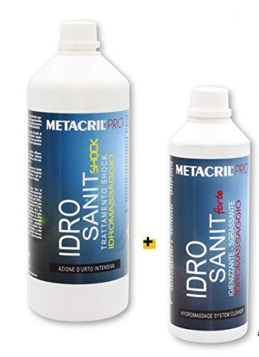 Metacril Kit de 2 solutions désinfectantes + traitement Shock pour hydromassage (Teuco, Jacuzzi, etc.) Hydro Sanit Forte 500 ml + Hydro Sanit Shock 1 L + Doseur gradué