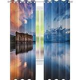 YUAZHOQI Cortina opaca rústica para ventana, diseño de edificios europeos en presa con agua histórica, cortinas personalizadas, 132 x 274 cm, color naranja y azul