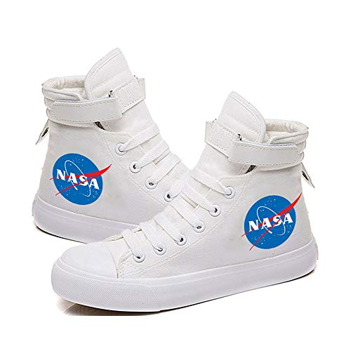 CBA BING NASA Sport laufende Schuhe, Mode Hoch-Spitze Segeltuch-Turnschuhe Mädchen Junge Jugend, Trail Running Schuhe,Weiß,41