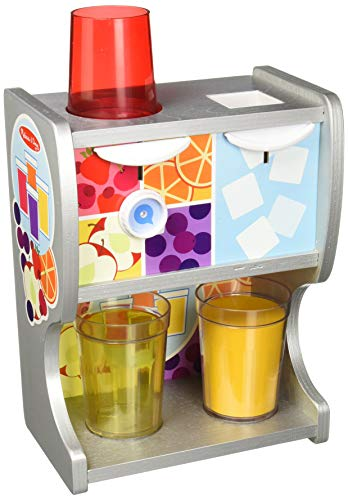 Melissa & Doug Wooden Thirst Quencher Drink Dispenser with Cups, Juice Inserts, Ice Cubes (10 pcs) Dispensador para Saciar La SED, Multicolor (19300)