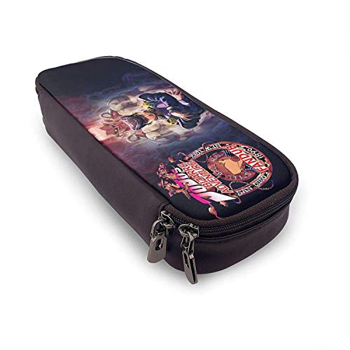 JoJo's Bizarre Adventure Leather Pencil Case Anime Pu Large Capacity Stationery Makeup Box Organizer Pouch Double Zipper Waterproof for Student School Work Office