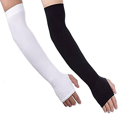 Arm Sleeves, BoChang 2 Pairs Sports Cooling Arm Sleeves Unisex Sun Block UV Protection Cooler Protective Hands Arm Cover Long Sleeve for Outdoor Activities Skin Protection (1 Pair Black, 1 pair White)