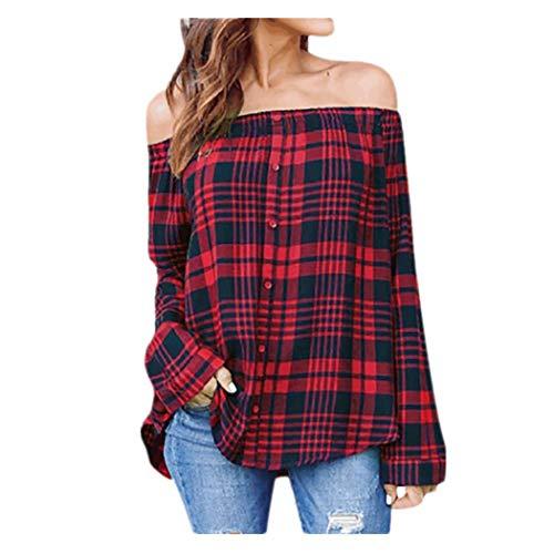 JUTOO Frauen Casual Plaid Off Schulter Langarm Shirt Tops Bluse