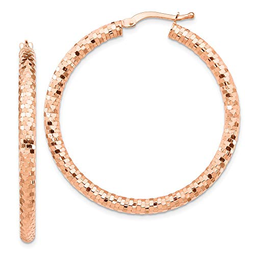 14k Rose Gold 3x30mm Hoop Earrings Ear Hoops Set Round Fine Jewellery For Women Gifts For Her