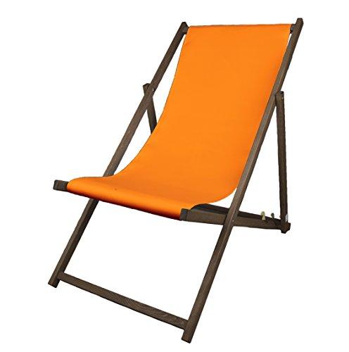 Liegestuhl, Holz, Orange ohne Armlehne mit dunkelbrauner Lasur, klappbar