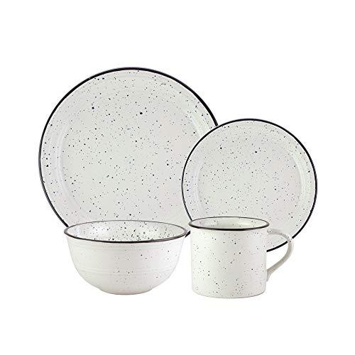 American Atelier Speckled 16 Piece Round Dinnerware Set, 10x10, White/Black
