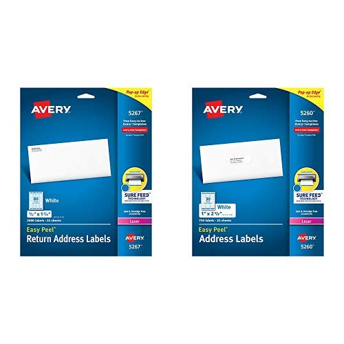 "Avery Address Labels with Sure Feed for Laser Printers, 0.5"" x 1.75"", 2,000 Labels, Permanent Adhesive (5267) AND Mailing Address Labels, Laser Printers, 750 Labels,Permanent Adhesive, Easy Peel"