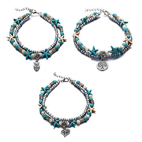 Uloveido 3 pcs Simulated Turquoise Starfish Beach Anklets Set Owl Bird-Heart-Tree of Life Multilayer Bracelet Anklets for Women Girls Y811-2