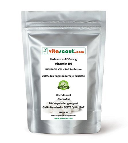 Folsäure 540 Tabletten je 400mcg - Folic Acid - Vitamin B9 = 200% des Tagesbedarfs je Tabl. / mehr als 500 Tabletten und dazu noch günstiger