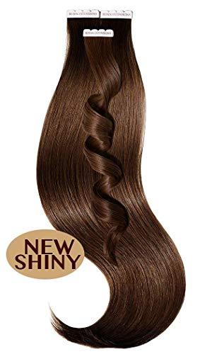 Haarverlängerung Echthaar | Tape in Extensions 100% Remy Echthaar | Haarverdichtung Haarteile Glatt 56cm, 50g by Rubin Extensions (20 Haartressen, Kastanien-Dunkelbraun)